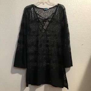 Blue Island crochet Mesh cover up sz M